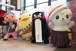 (左から)あゆコロちゃん、バリィさん、くまモン、さのまる