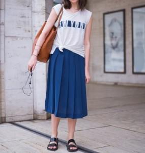 뉴요커에 배우기 여름의 흰색×블루의 착용 방법 화상 1