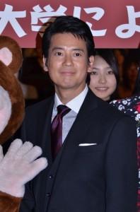 早稲田大学での試写会に出席した唐沢寿明